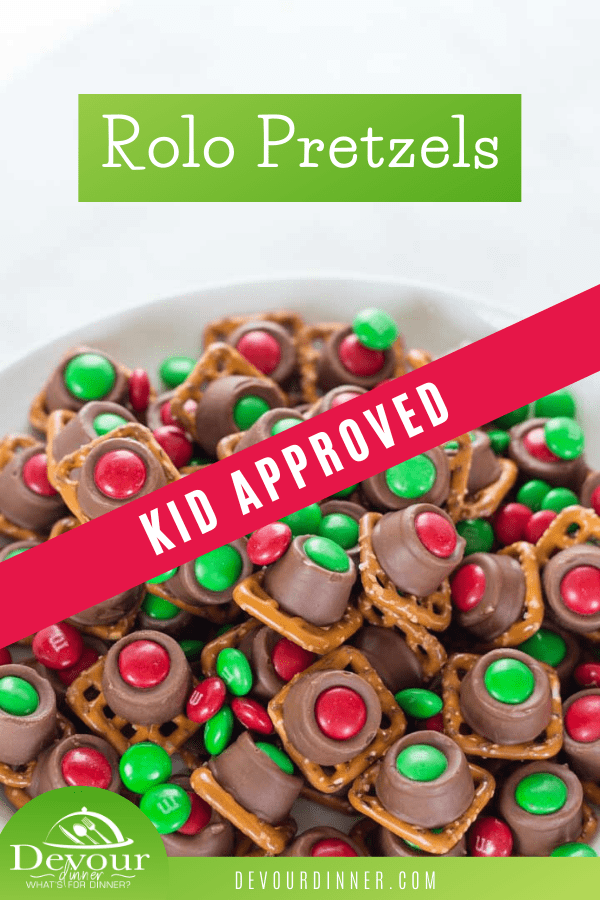 If you haven't made Rolo Pretzels, these are a must for any occasion. Rolo Pretzels are a simple and easy to make candy treat that is perfect for the holidays. Not only do they look impressive on a plate, but they taste great too. Salty, sweet, crunchy and gooey in every bite. #devourdinner #devourpower #rolopretzel #rolotreat #holiday #christmascookie #genderreveal #sportsteam