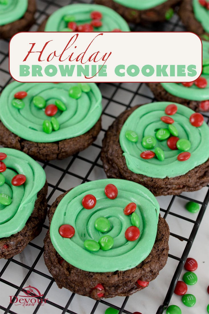 Is it a Brownie or a Cookie? How about a Holiday Brownie Cookie! You know you love a rich and chewy Brownie Recipe, so why not make it into a chewy chocolatey Cookie and dress it up for the Holidays! #devourdinner #devourpower #recipe #holidaycookie #brownie #recipes #yum #yummy #freakyfridayrecipes