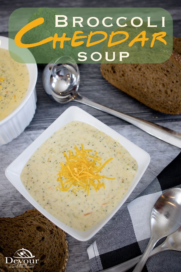 Popular Panera Broccoli Cheddar Soup Copycat Recipe with both Instant Pot and Stove top directions. Make a perfect bowl of soup you will love every last bite. Easy to make in the Instant Pot, add a little ham cubes for a little more umph and feed the family a delicious meal. #devourdinner #devourpower #instantpot #instantpotsoup #panerabroccolicheddarsoup #broccolicheddarsoup #familyrecipe #yum #yummy #soup #easysouprecipe