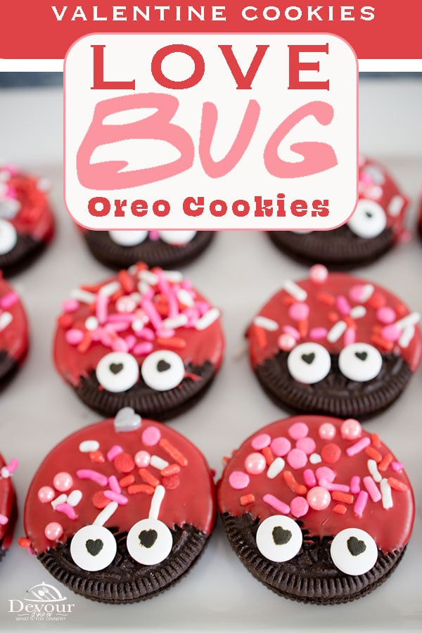 Love Bug Oreo Cookies made with Oreos, Red Candy Melts, Valentine Sprinkles, and Candy Eyes. A fun and simple Valentine Cookie Treat that's fun to make and share with friends. #lovebugcookies #valentinecookies #valentineoreos #dippedoreos #candydippedoreos #lovebugoreocookies #devourdinner #devourpower #holidaycookies #valentinesdaycookies