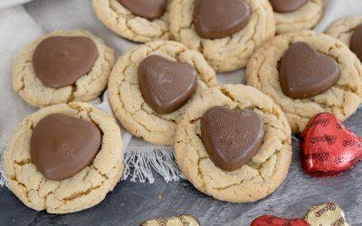 Valentine Peanut Butter Blossom Cookies
