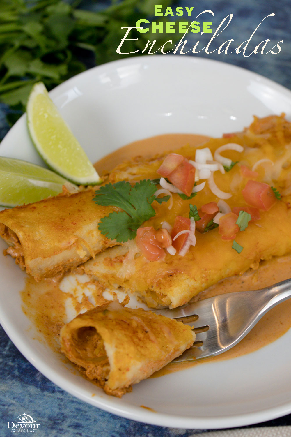 Creamy and Delicious Red Cheese Enchiladas a 30 Minute Meal Recipe. Make with Corn or Flour Tortillas with Make ahead directions and fun Add ins. Top with fresh pico, limes, avocado and more. Spice up with diced Chilies and Jalapeños. Always a great recipe. #devourdinner #devourpower #FreakyFridayRecipes #bonappetitmag #thekitchn #recipeoftheday #americastestkitchen #buzzfeedfood #cooksillustrated #foodgawker #bareaders #foodblogfeed #droolclub #makeitdelicious #scrumptiouskitchen