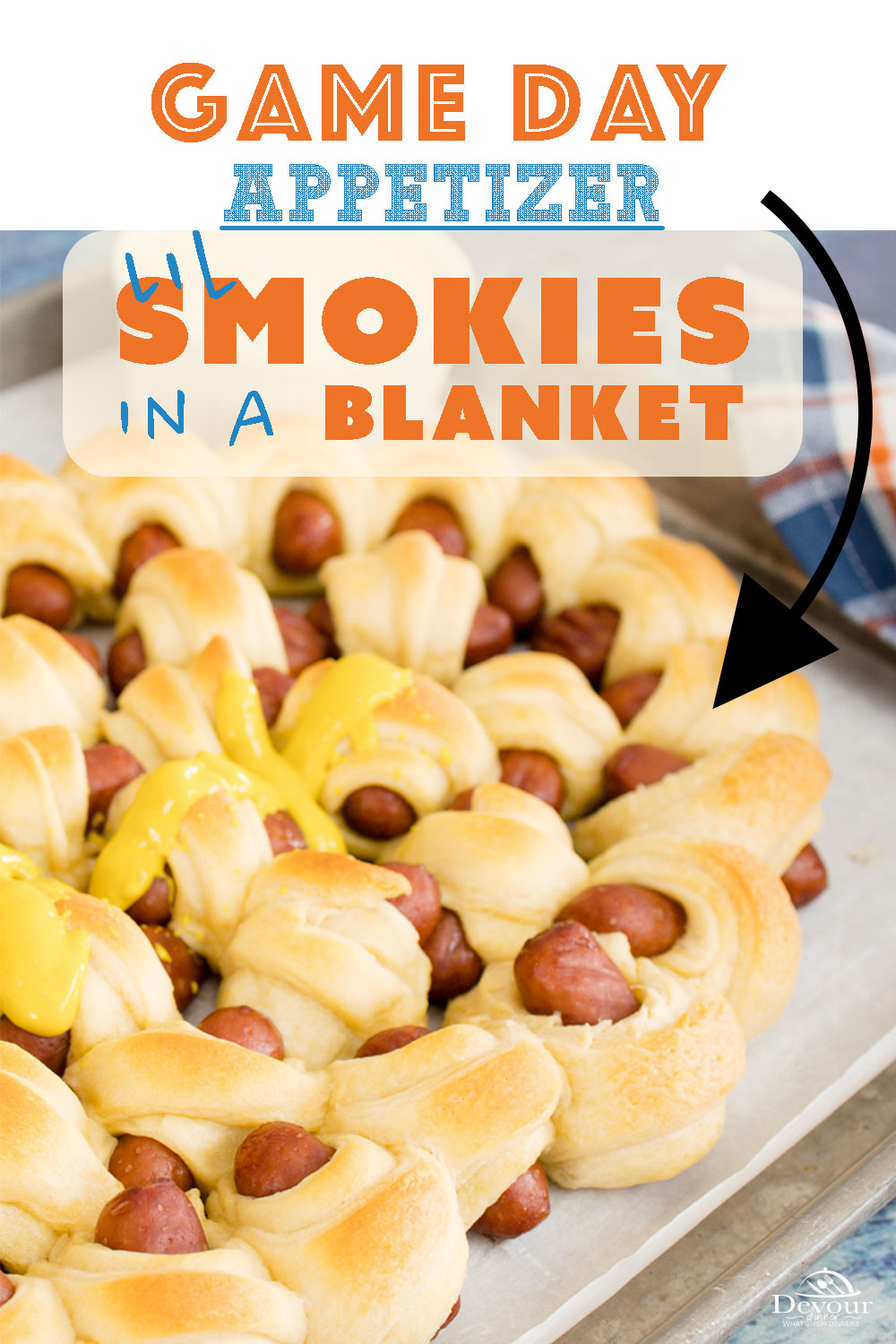 Lil Smokies Pigs in a Blanket is a favorite for generations. Quick and easy made with Cocktail Weenies, Crescent Rolls and topped with Ketchup, BBQ Sauce, Ranch, or Honey Mustard. Easy Recipe to let the Kids help too. Fun for Super Bowl Parties, Game Nights or just because. #devourdinner #devourpower #superbowlappetizer #superbowlsnacks #feedfeedathome #huffposttaste #todayfood #food52grams #onthetable #shareyourtable #appetizerrecipe #appetizers #pigsinablanket #lilsmokiesinablanket #yum