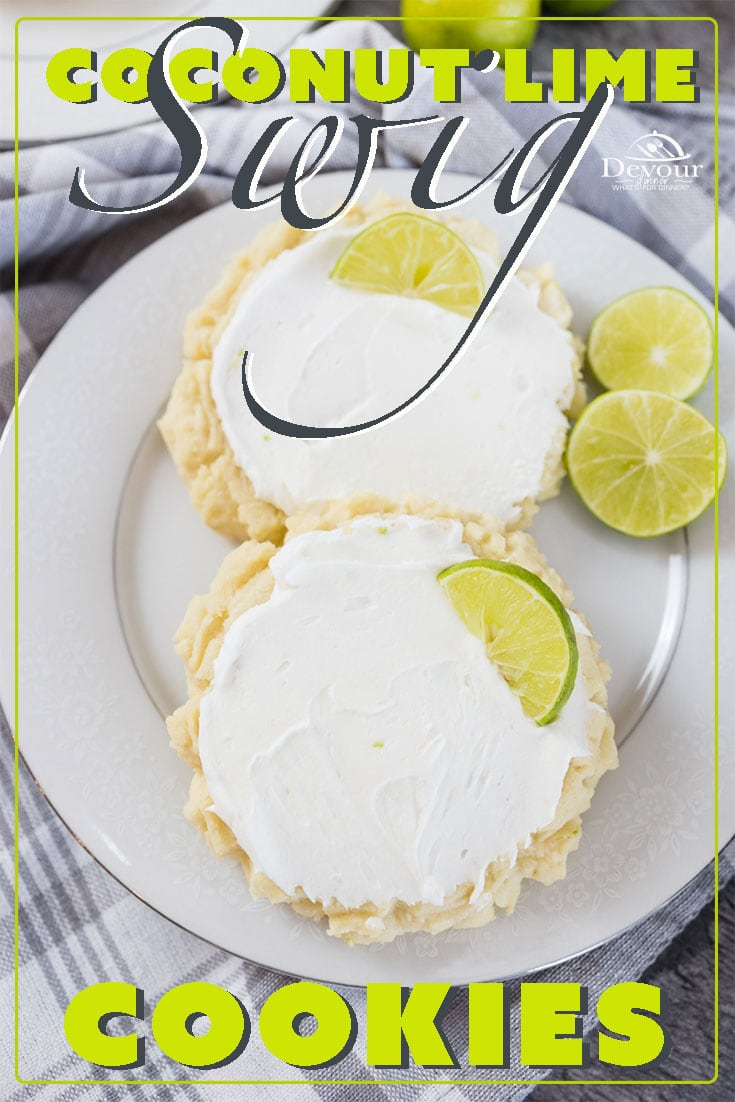 Swig Cookies are a fantastic Sugar Cookie recipe so how about a Coconut Lime Swig Cookie with a frosting that will have you wanting more. This tropical cookie is a real treat. It's soft with a burst of flavor topped with a slice of key lime. #devourdinner #devourpower #swigcookierecipe #coconutlimeswigcookie #sugarcookie #sponsored #dixiecrystals #melissasproduce #foodblogfeed #droolclub #makeitdelicious #scrumptiouskitchen #forthemaking #tastemade #inmykitchen #cookit #cookierecipe #yummy