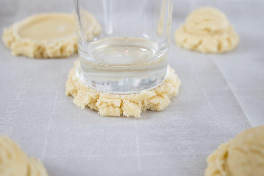 Pressed Cookies using glass dipped in sugar