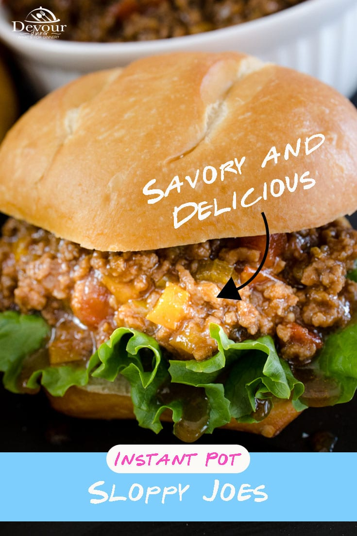 The secret to mouthwatering Sloppy Joes is a long simmer with fresh ingredients perfectly balanced. Made with White Onion, Celery, Bell Pepper, Green Chilies, Diced Tomatoes, Garlic, Salt and pepper, this recipe comes together pretty quickly using your Instant Pot or Pressure Cooker. Your mouth will drool wanting more so make sure to have extra buns. #devourdinner #devourpower #sloppyjoes #instantpotsloppyjoes #easyrecipe #familyrecipe #bonappetitmag #thekitchn #recipeoftheday #yum #yummy