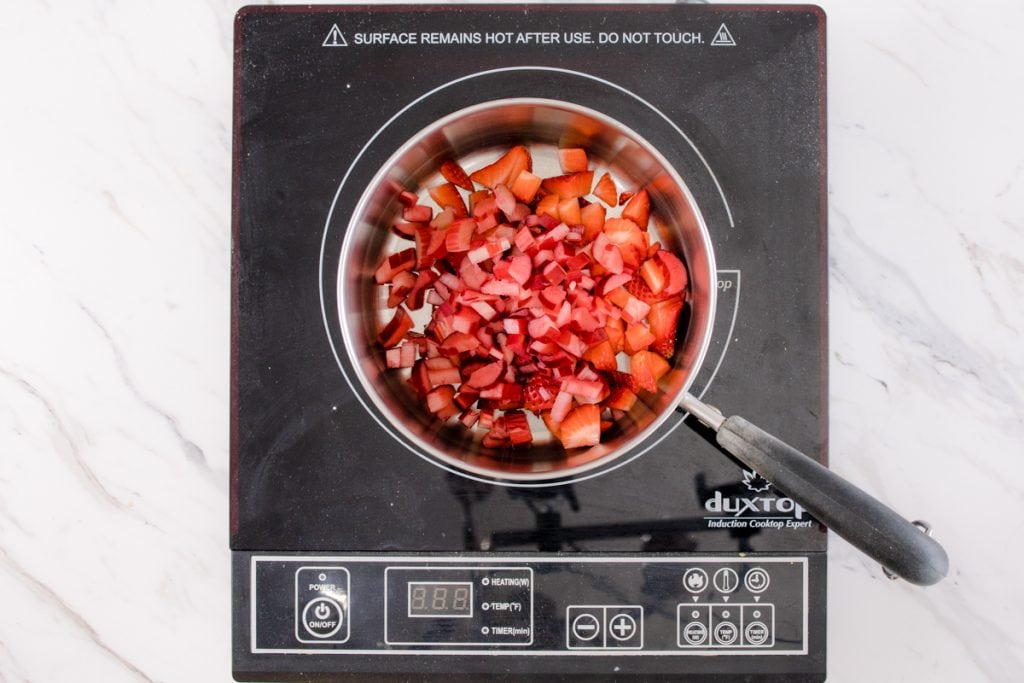 Diced Strawberries and Rhubarb in Sauce Pan