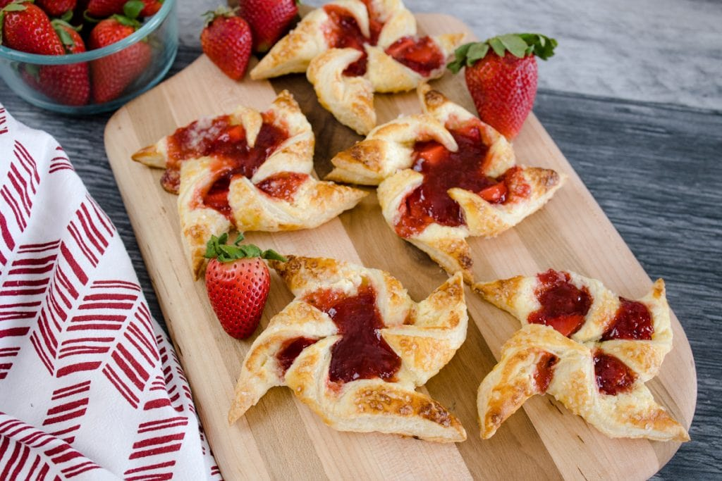 Strawberry Rhubarb Pinwheel Danish