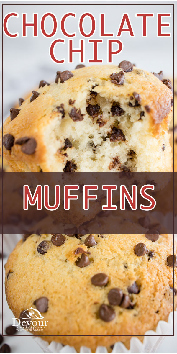 Delicious Chocolate Chip Muffins made from scratch. Jumbo, Mini or Regular size muffins that the family will love for breakfast or a snack. Easy to make recipe to include the kids and get them into the kitchen. Makes 6 Jumbo Muffins, 12 Regular, or almost 22 mini muffins! #devourdinner #Devourpower #muffinrecipe #chocolatechipmuffins #easyrecipe #breakfastrecipe #iammartha #foodiefriday #familyrecipes #bakedfromscratch #muffins #yum #yummy #bonappetitmag #thekitchn #recipeoftheday