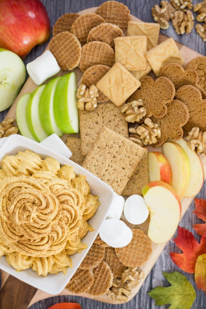 Pumpkin Fluff Charcuterie Board with Apples, Cookies, Marshmallows and nuts