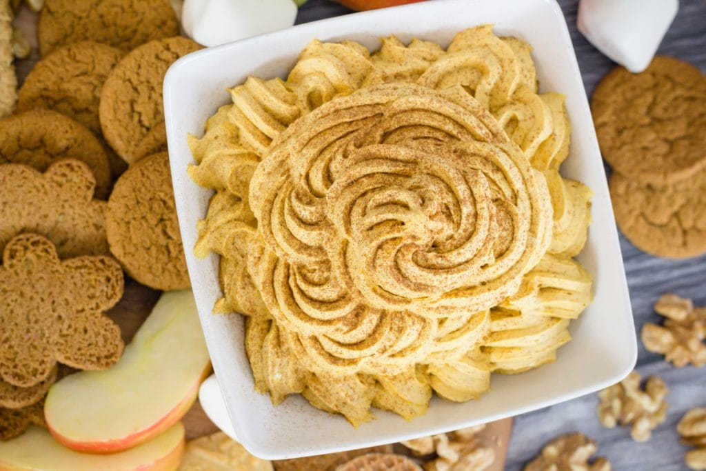 Pumpkin Fluff Recipe on Charcuterie Board with apples and cookies