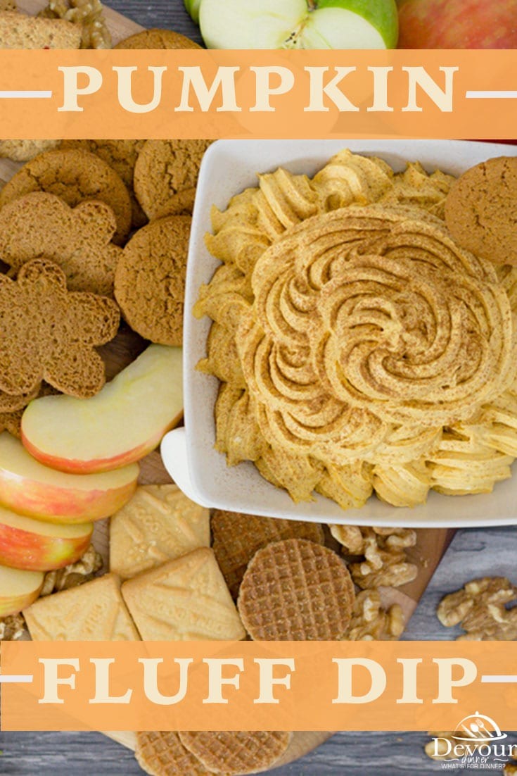 Making a Holiday Charcuterie Board with Creamy Pumpkin Fluff is a fun & delicious dessert. Easy to make dessert recipe with only 6 ingredients. Serve with Apples, Shortbread Cookies, Nuts, Gingersnap Cookies and more. Delicious Fall dessert for a fun and easy wow factor! #devourdinner #devourpower #firstpicchallenge #foodiefriday #iammartha #charcuterieboard #dessertcharcuterieboard #pumpkin #pumpkinrecipe #pumpkindessert #pumpkinfluff #easyrecipe #easydessert #yum #yummy #nobakerecipe #nobake