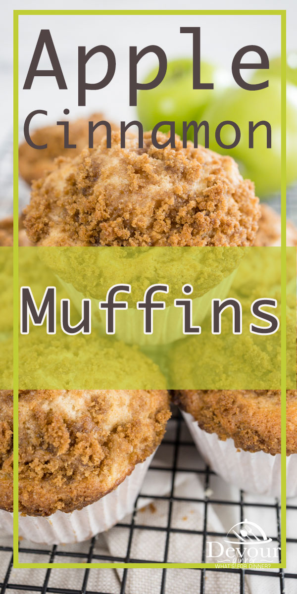 Hot warm Apple Cinnamon Muffins made from scratch with fresh tart green apples. Topped with Crumb Topping. Delicious breakfast or snack. Made from scratch muffin recipe for Jumbo, Regular or Mini Muffins. You decide what is best for you. Step by step directions. #devourdinner #devourpower #familyrecipe #easyrecipe #iammartha #bonappetitmag #thekitchn #recipeoftheday #americastestkitchen #cooksillustrated #foodgawker #bareaders #mywilliamsonoma #imsomartha #muffin #muffinrecipe #breakfast