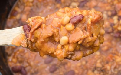 Cowboy Beans a Dutch Oven full of Baked Beans