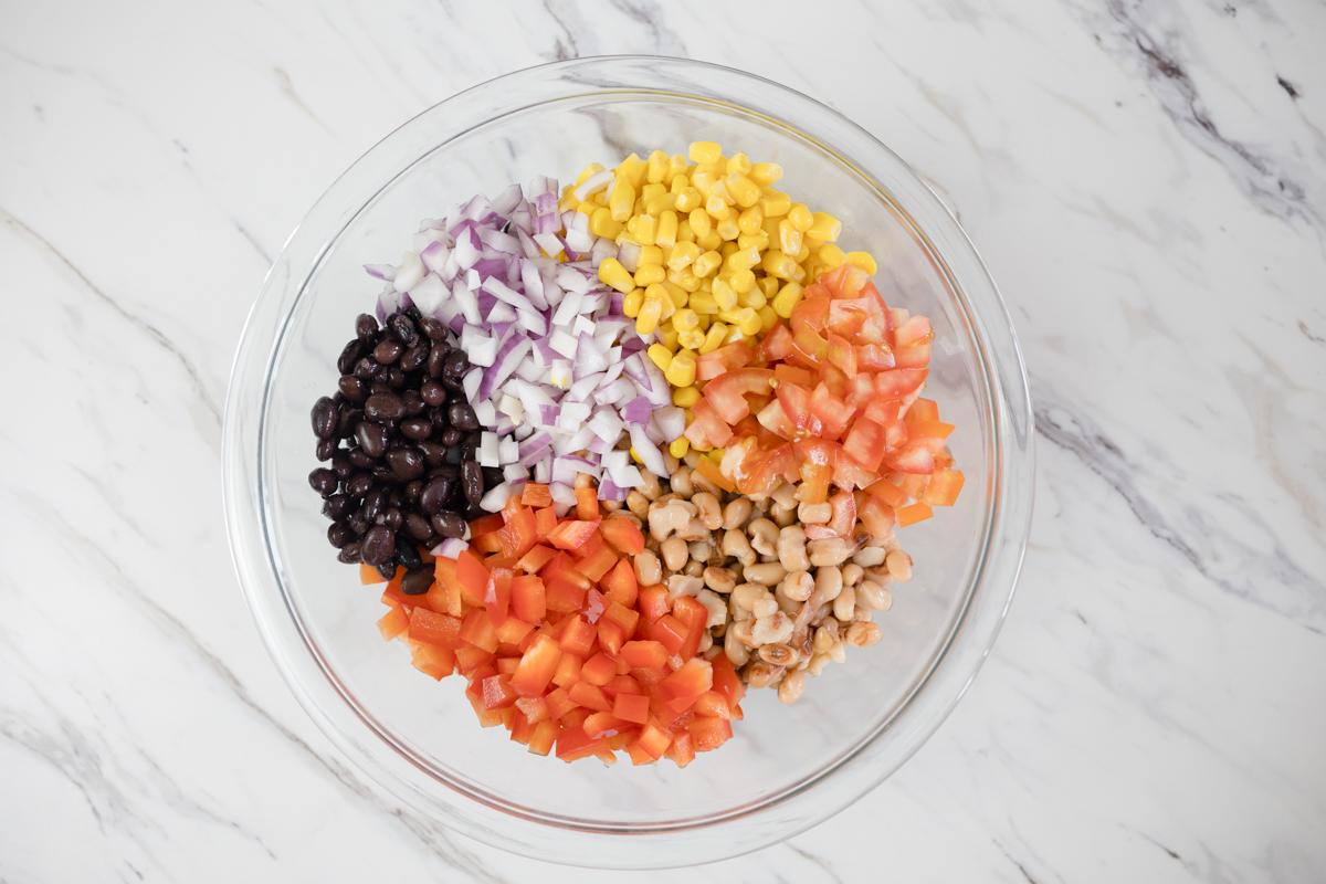 Bean and Avocado Dip Ingredients in Bowl