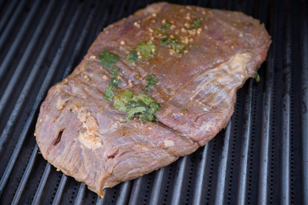 Marinated Flank Steak on grill