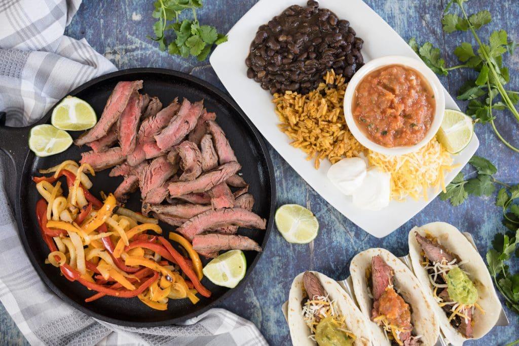 Steak Fajita Marinade with Beans, Rice, Salsa