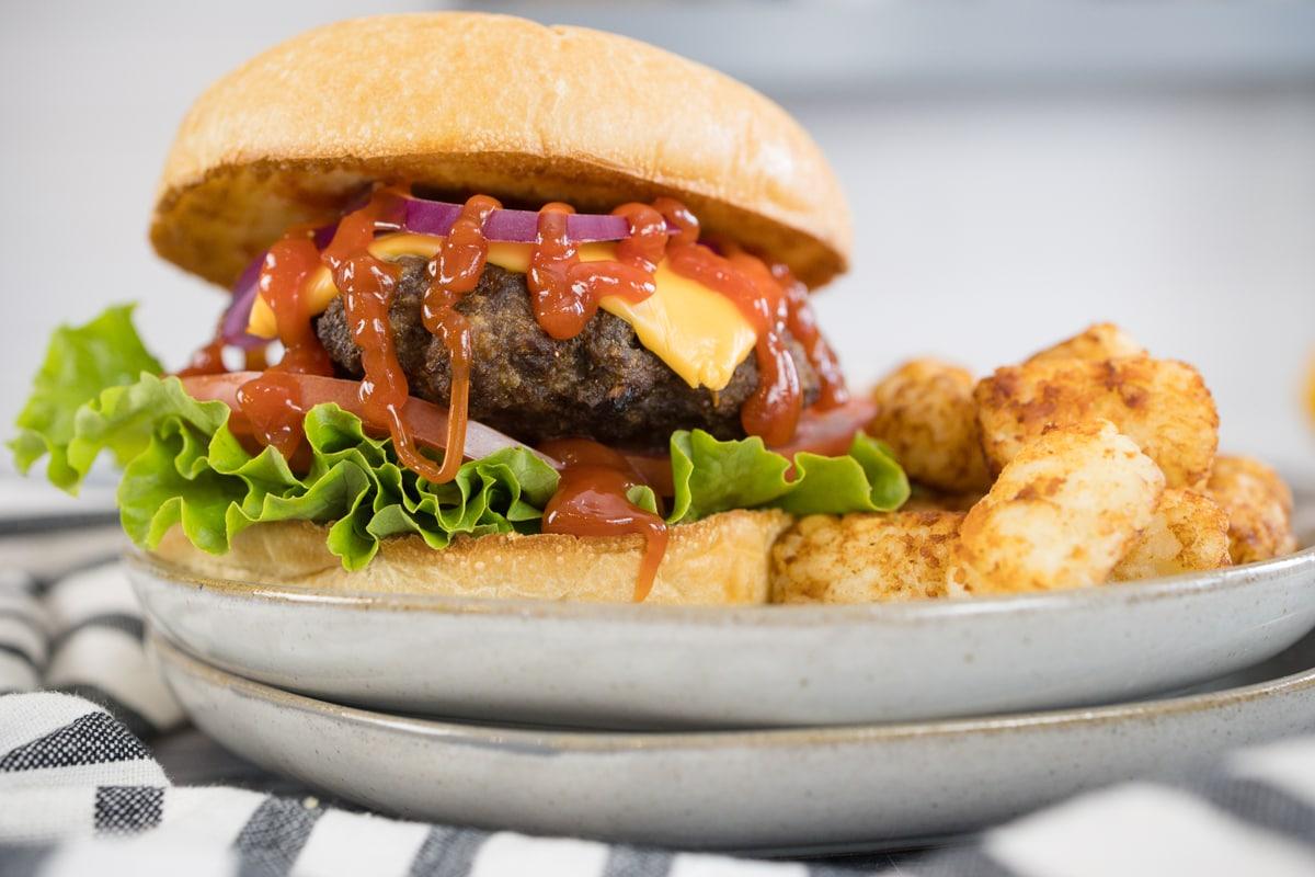 Hamburger Patty with Lettuce Tomato, Cheese