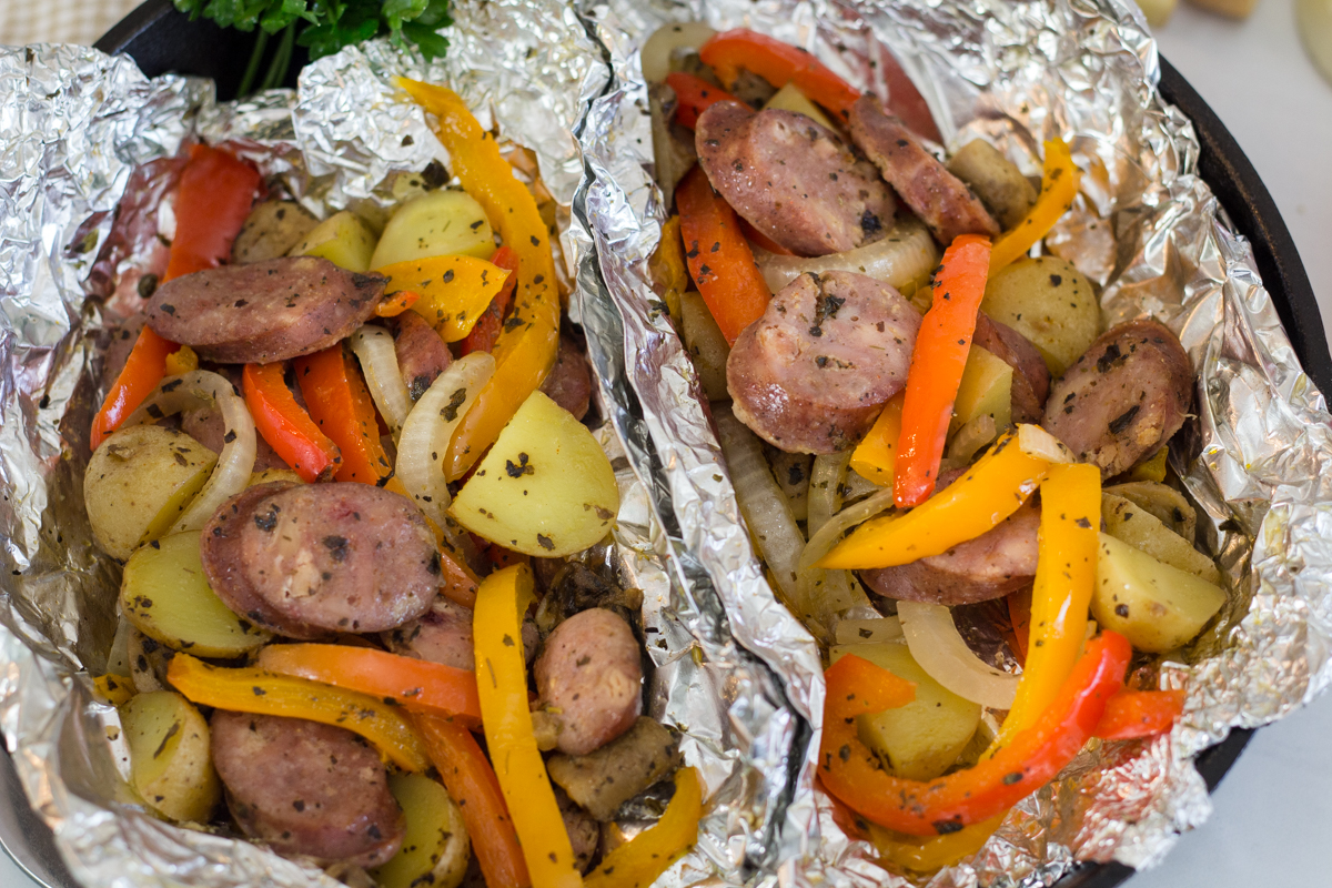 Sausage and Peppers Tin Foil Recipe
