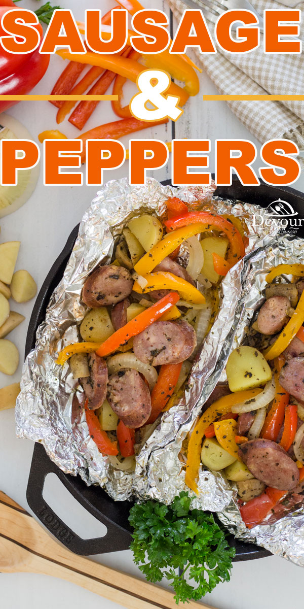 Family Friendly Camping Tin Foil Dinner Sausage and Peppers. Let the natural flavors shine through in this simple dinner recipe that's great. Roast in oven, Grill on BBQ, or place over Charcoal, you won't go wrong with this easy to make Dinner Recipe the family will love. #devourdinner #devourpower #familyrecipe #easyrecipe #iammartha #bonappetitmag #thekitchn #recipeoftheday #americastestkitchen #foodgawker #bareaders #sausageandpeppers #tinfoilmeal #tinfoildinner #roastedsausageandpeppers