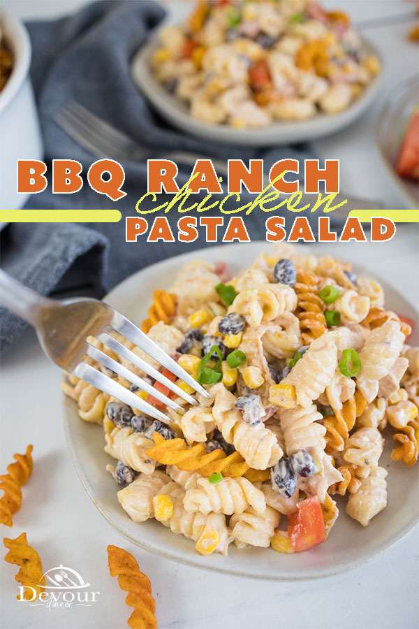 BBQ Ranch Pasta Salad - Devour Dinner. Delicious Chicken BBQ Pasta Ranch Salad. Perfect for Spring, Summer, Fall or anytime of year. Packed full of flavor. Mouthwatering Recipe. Take to a Pot Luck and watch it be devoured. #Recipe #PastaSalad #BBQRanch #ChickenBBQRanchSalad #Recipe #EasyRecipe #Ranch #chicken #SideDish #Dinner #DinnerRecipe #Whatsfordinner #instantpot #instantpotrecipes #iammartha #buzzfeast #mywilliamsonoma #imsomartha #tastemademedoit #foodandwine #americastestkitchen