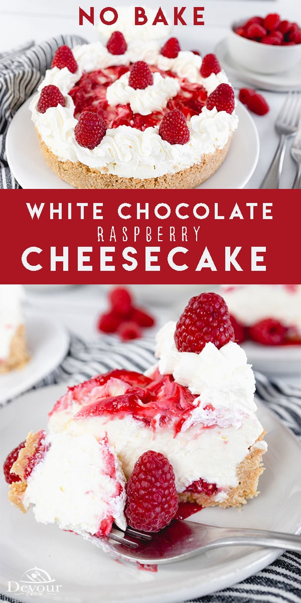 White Chocolate Raspberry Cheesecake made with Whipping Cream, Cream Cheese, Powdered Sugar, and White Chocolate with a Raspberry Drizzle. Made with a homemade graham cracker crust. Lick your Lips with every bite of this delicious No Bake Cheesecake. You will enjoy the rich flavor and creamy texture. #devourdinner #devourpower #whatsfordinner #icancookchallenge #cheesecake #nationalcheesecakeday #whitechocolatecheesecake #raspberrycheesecake #raspberrynobakecheesecake #familyrecipe #yum