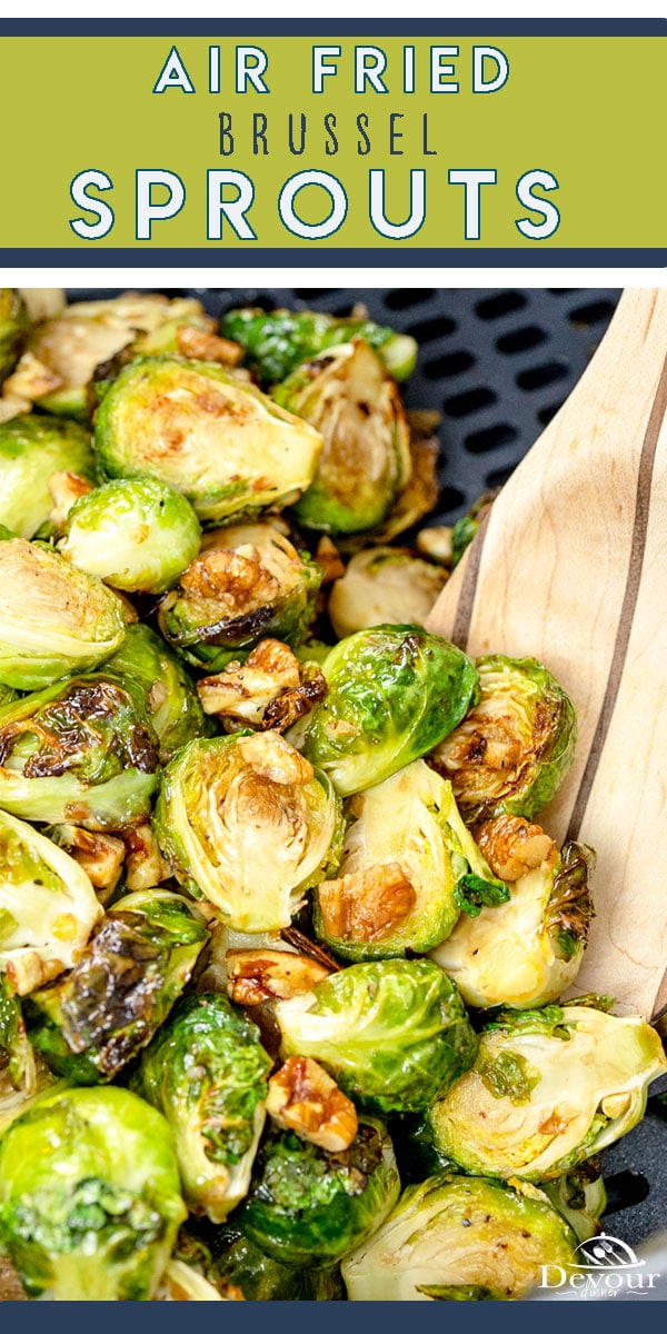 Tasty Air Fryer Brussel Sprouts made with Olive Oil, Salt, Fresh Ground Pepper and drizzled in Balsamic Vinegar, Honey, Olive Oil & Pecans. Easy side dish recipe. Choose bright green Brussel Sprouts with tight leaves for best results. Simple Air Fryer Recipe. #devourdinner #devourpower #whatsfordinner #icancookchallenge #newrecipes #abmfoodie #cooksillustrated #food52grams #thecookfeed #whatsonmyplate #simplerecipes #tastingtable #goodeats #tastemade #huffposttaste #sidedish #brusselsprouts