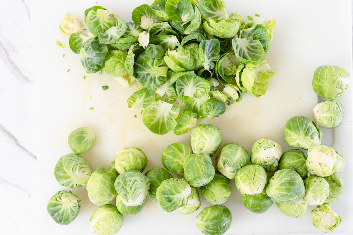 Brussel Sprouts remove outer leaves and stems