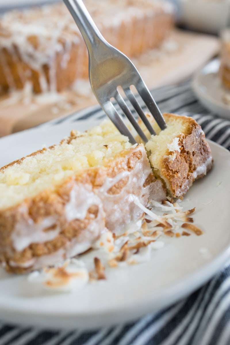 Coconut Pound Cake with Coconut Lime Glaze and Toasted Coconut