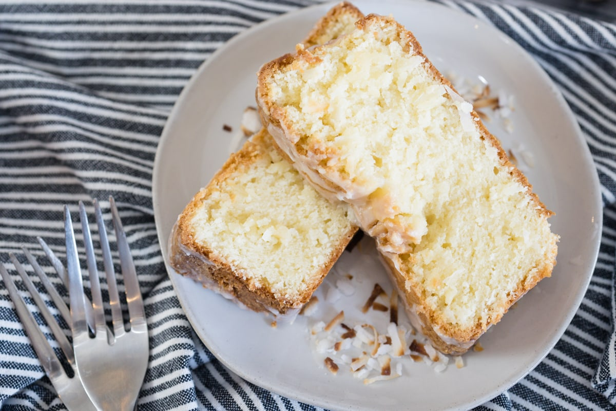 Coconut Pound Cake with Coconut Lime Glaze and Toasted Coconut on top