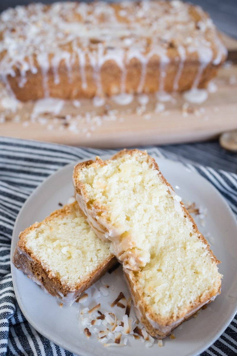 Coconut Pound Cake on plate