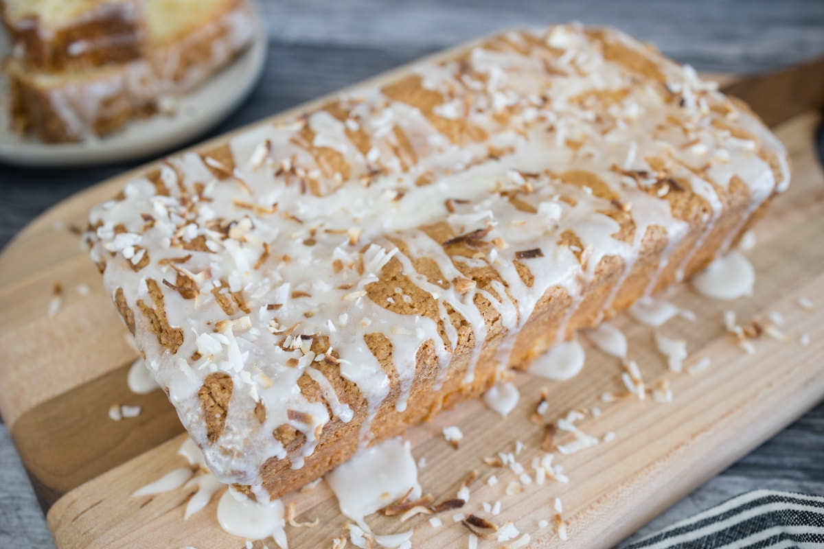 Coconut Pound Cake with Toasted Coconut and Coconut Lime Glaze