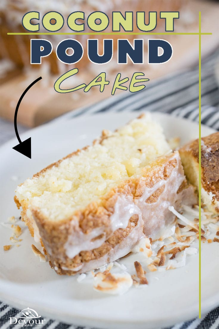 Rich Delicious Coconut Pound Cake with a Coconut Lime Drizzle Glaze. Velvety smooth and easy to make with step-by-step directions. Tips for the perfect Pound Cake Dessert your family will enjoy. Try with Whipped Cream and Berries. #devourdinner #devourpower #easyrecipe #poundcake #coconut #coconutpoundcake #coconutlime #coconutlimeglaze #familyrecipe #buzzfeast #dessertrecipe #easydessert #funrecipe #bonappetitmag #thekitchn #recipeoftheday #americastestkitchen #buzzfeedfood #cooksillustrated