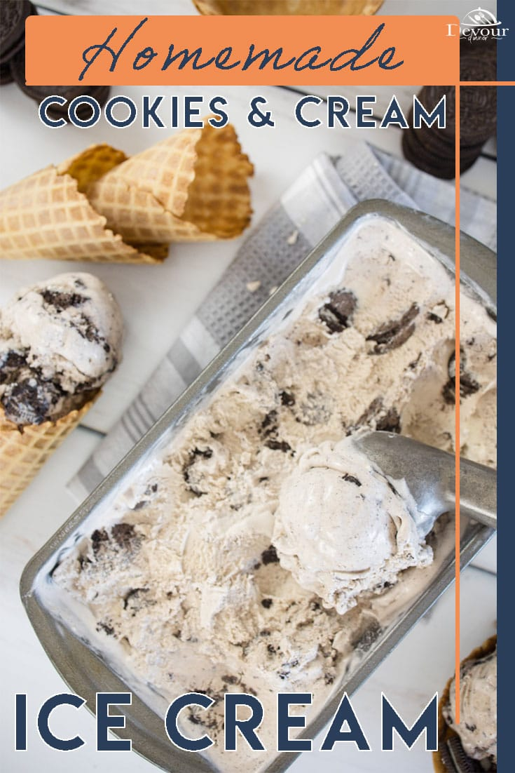 Creamy sweet and delicious, Cookies and Cream Ice Cream is loaded with OREO Cookie Pieces in a creamy Vanilla based Homemade Ice Cream. Made with Heavy Whipping Cream, Sugar, Egg Yolks, and Oreo Cookies. This step-by-step Homemade Ice Cream Recipe will help you have a winning dessert. #devourdinner #devourpower #icancookchallenge #whatsfordinner #homemadeicecream #cookiesandcreamicecream #howtomakecookiesandcreamicecream #easyrecipe #familyrecipe #yum #yummy #recipeoftheday