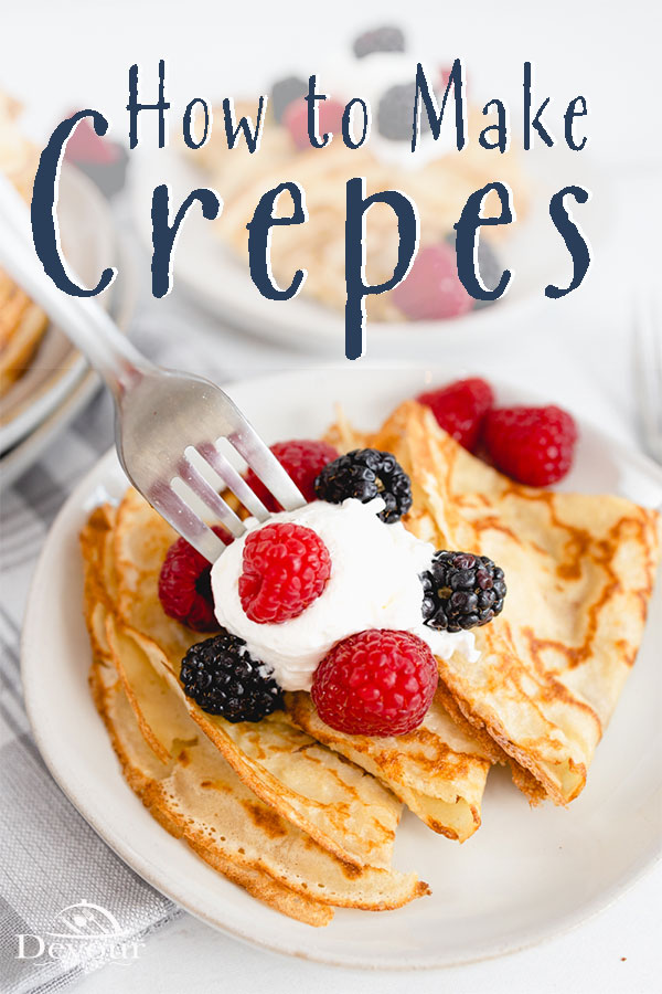 Delicious Buttery French Crepes a wonderful Breakfast Recipe. Crepes made with Milk, Eggs, Vanilla, Flour, Sugar, and Salt. Blended together to make a batter. Ready to make thin French Pancakes. Crepes are served both sweet and savory by adding your favorite ingredients. Crepes welcome Spring with the lacy crispy edges and sun-like visual appeal. #devourdinner #devourpower #whatsfordinner #crepes #frenchcrepes #frenchpancakes #pancakes #breakfastrecipe #easyrecipe #familyrecipe #yum #yummy