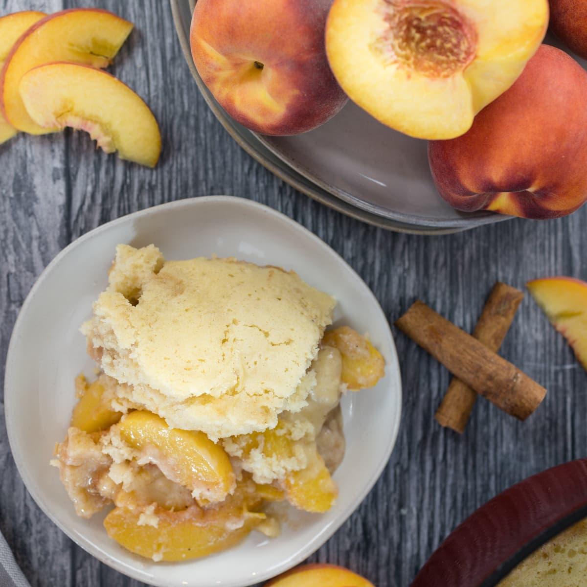 Dutch Oven Peach Cobbler #SummerDessertWeek