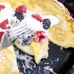 German Pancake or Dutch Baby Pancake with Berries and Cream