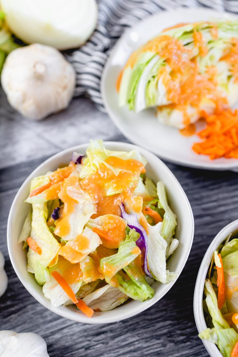 Ginger Salad Dressing on an Iceberg Salad