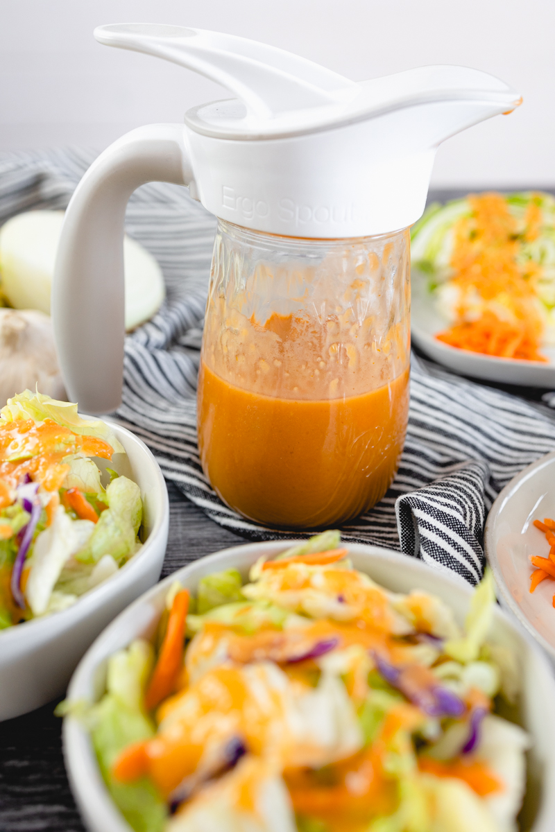 Japanese Salad Dressing in Mason Jar with Spout