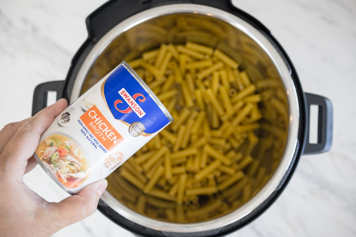 Ziti Pasta and Chicken Broth in Instant Pot