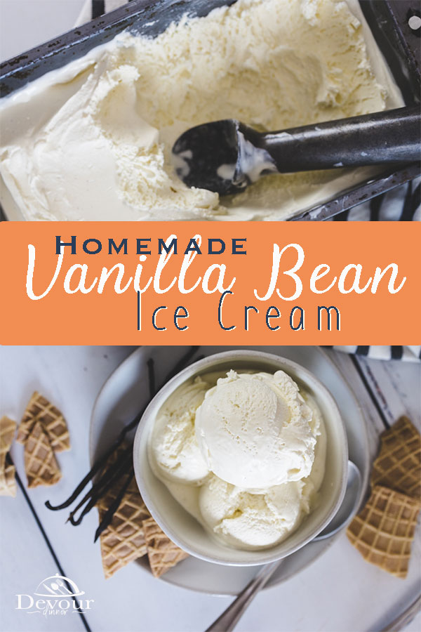 Vanilla Bean Ice Cream with Heavy Whipping Cream, Whole Milk, Egg Yolks, Sugar, and Vanilla Beans. This custard like Ice Cream is Fantastic. Homemade Vanilla Bean Ice Cream with step by step directions is a delicious dessert. Top with Hot Fudge, serve over brownies or enjoy with fresh fruit. National Ice Cream day is July 16th #devourdinner #devourpower #whatsfordinner #homemadeicecream #vanillabeanicecream #homemadevanillaicecream #homemadevanillabeanicecream #easydessert #easyrecipe #yummy