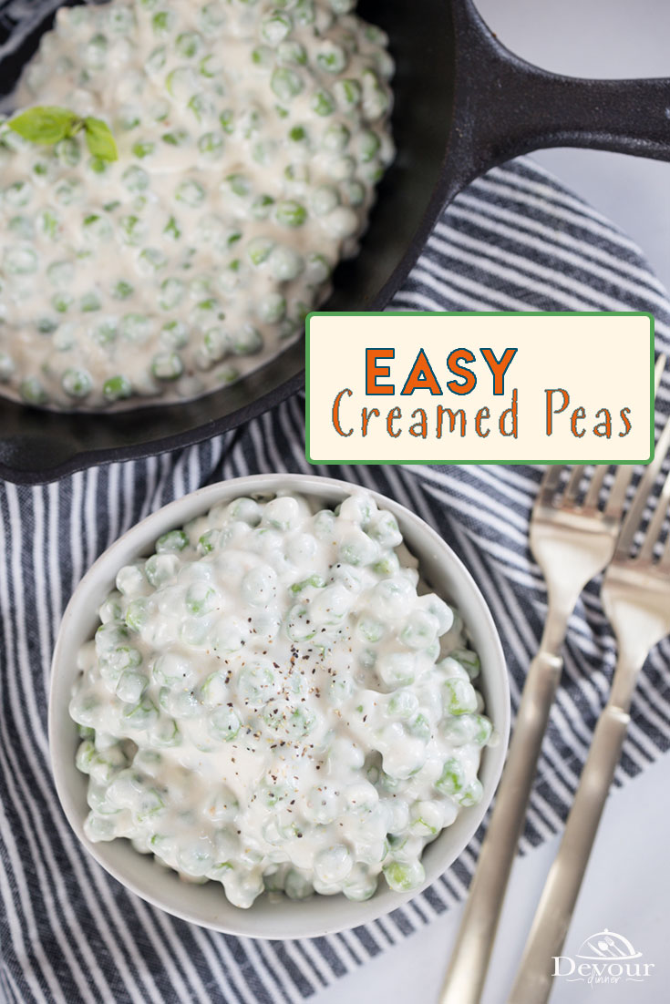 Creamed Peas is an easy side dish recipe, also delicious over biscuits and toast. Homemade Cream Sauce and sweet peas combined to make this easy Creamed Peas recipe. Use Fresh garden peas or Frozen peas for best results. Double cream sauce more delicious creamed gravy with peas. #devourdinner #devourpower #whatsfordinner #creamedpeas #easysidedish #buzzfeast #food52grams #whatsonmyplate #simplerecipes #tastemade #huffposttaste #inseasonnow #tastetheseasons #summerrecipe #freshpeas