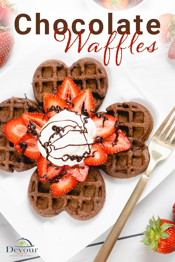 Crispy and delicious Chocolate Waffles Recipe made with Flour, Cocoa, Sugar, Baking Powder, Eggs, Milk, Oil, and Vanilla. Delicious breakfast recipe topped with fresh berries, sweetened whipping cream, and a drizzle of chocolate sauce but don't stop there, I've got many more topping options for you. #devourdinner #Devourpower #whatsfordinner #Eatingfortheinsta #food #yum #delicious #feedfeed #thefeedfeed #foodprnshare #droolclub #cooking #forkfeed #comfortfood #dinnerideas #chocolatewaffles