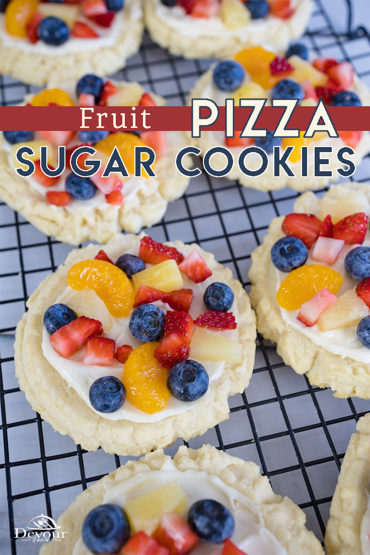 Fruit Pizza Cookies made with my Swig Copycat Cookie Recipe and topped with a Cream Cheese Frosting and bite size fruit and berries. Chilled Sugar Cookies topped with fruit are fantastic and give a pop of beautiful color displaying fresh fruit in every bite. Delicious dessert recipe. #devourdinner #devourpower #whatsfordinner #fruitpizza #fruitpizzacookie #sugarcookiefruitpizza #bakedup #realfood #instafood #foodpic #foodaddict #igfood #delish #goodfood #foods #foodlover #foodbeast