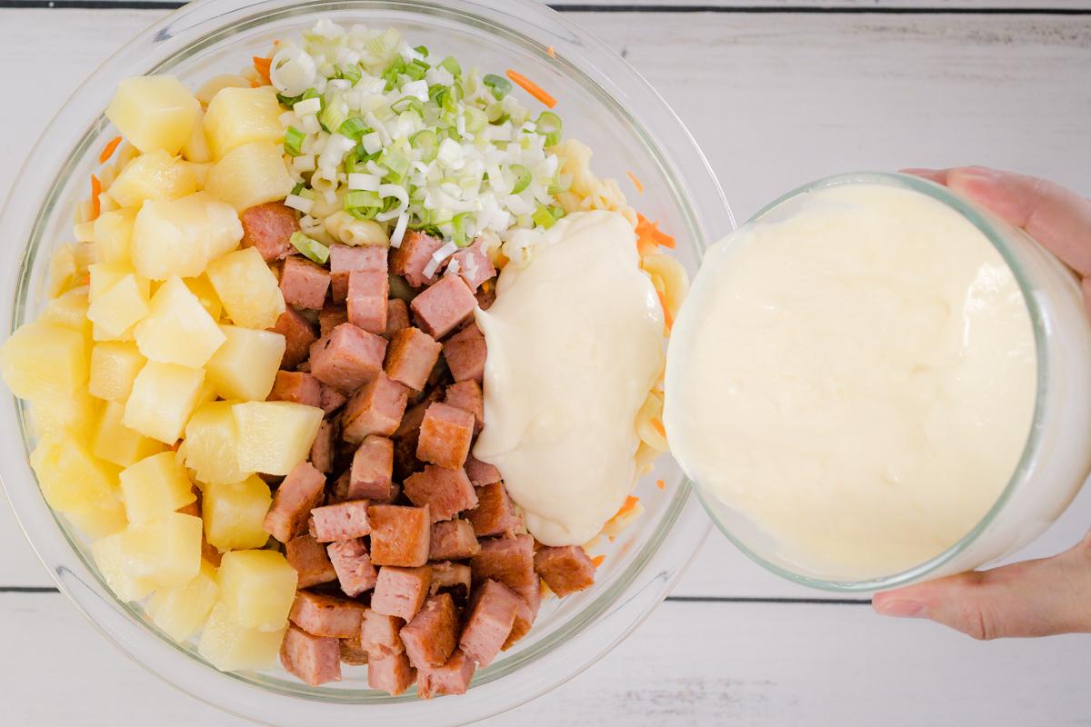 Adding Creamy Sauce to Hawaiian Mac Salad With Spam