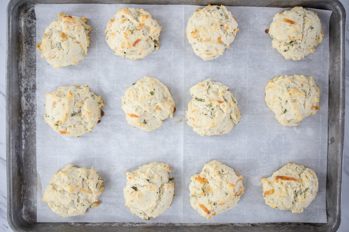 Baked Drop Biscuits on Cookie Sheet