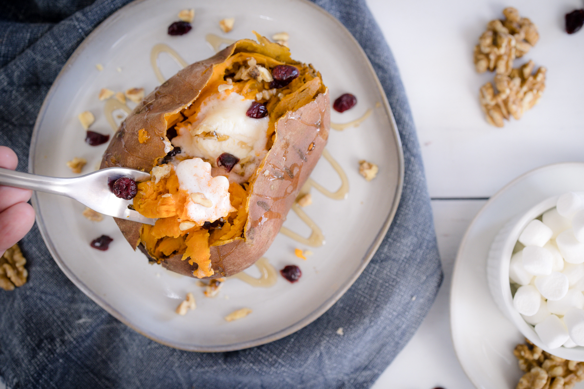 Instant Pot Sweet Potato with Butter, Craisins, and Walnuts
