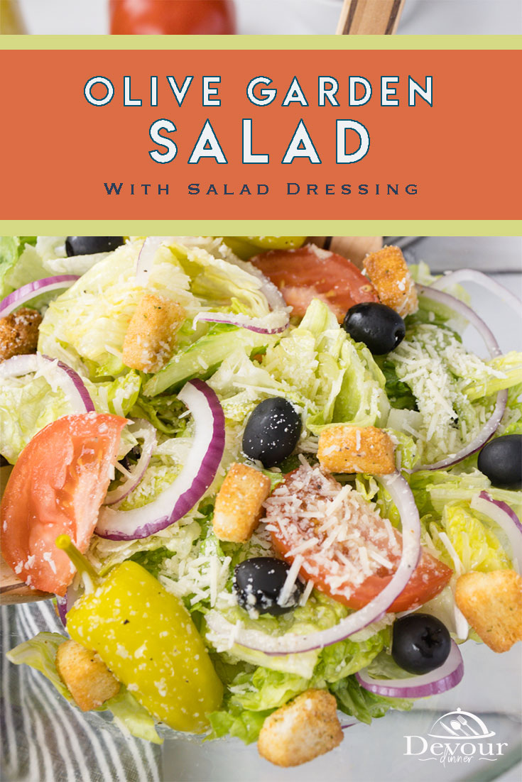 Olive Garden Salad Recipe made with a bowl full of tossed greens, red onions, pepperoncini, tomatoes, and of course olives. Top with Dressing and enjoy a delicious restaurant quality garden fresh salad. Easy to make Salad Dressing made with fresh ingredients. #devourdinner #olivegardensalad #olivegardencopycatrecipe #italian #devourpower #whatsfordinner #easyrecipe #familyrecipe #buzzfeast #onthetable #keepitreal #lifejourney #foodblog #foodstagram #food_photography #feedfeed #foodstyling