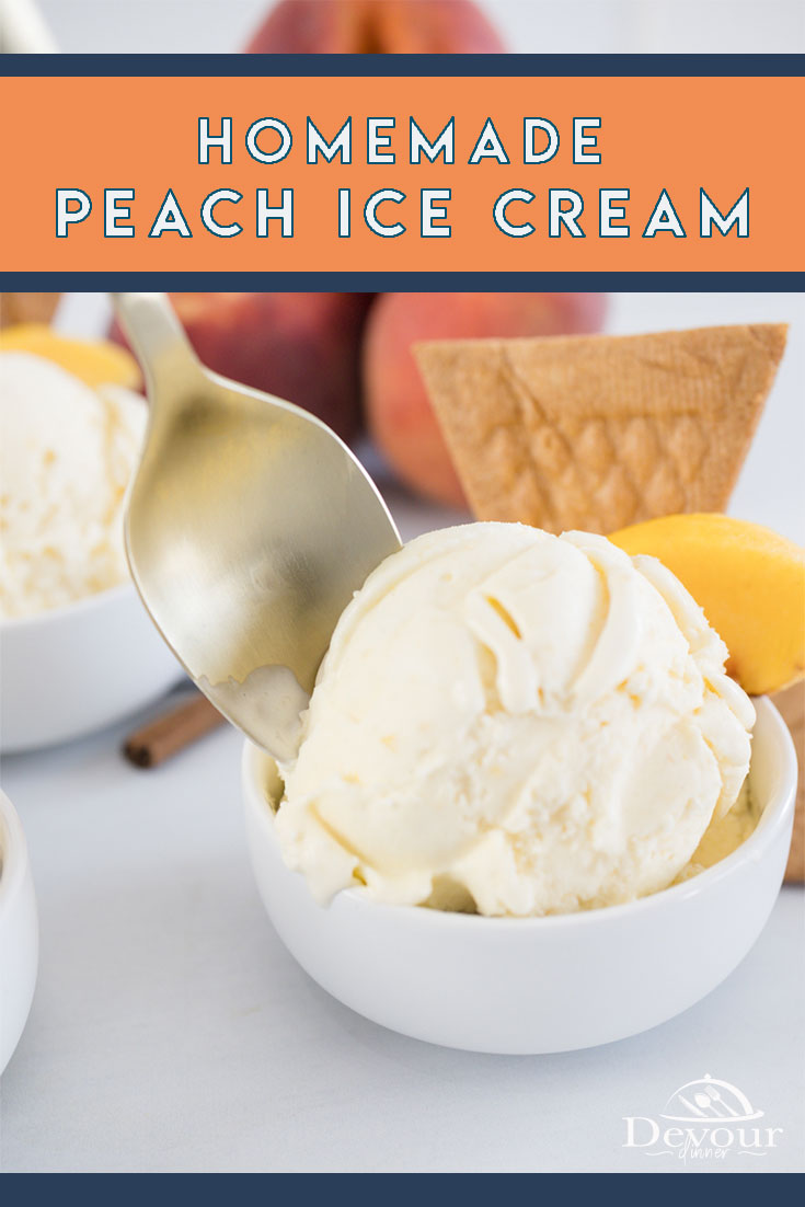 Summer Peaches are delicious especially when making Homemade Peach Ice Cream. Creamy and smooth this Ice Cream Recipe is so rich and delicious it's almost custard like. Serve with fresh peaches for a refreshing summer treat. Homemade Peach Ice Cream made with Heavy Cream, Milk, Sugar, Egg Yolks, Cinnamon, and Peach Puree to create a delicious creamy Ice Cream. #devourdinner #devourpower #icancookchallenge #whatsfordinner #homemadeicecream #peachicecream #peach #easyrecipe #easydessert #yum