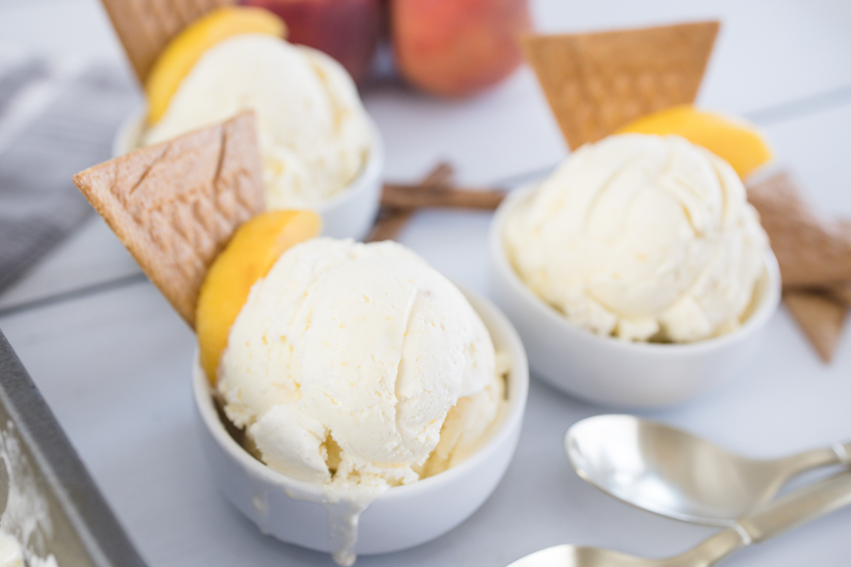 Peach Ice Cream in bowl with Waffle Cookie